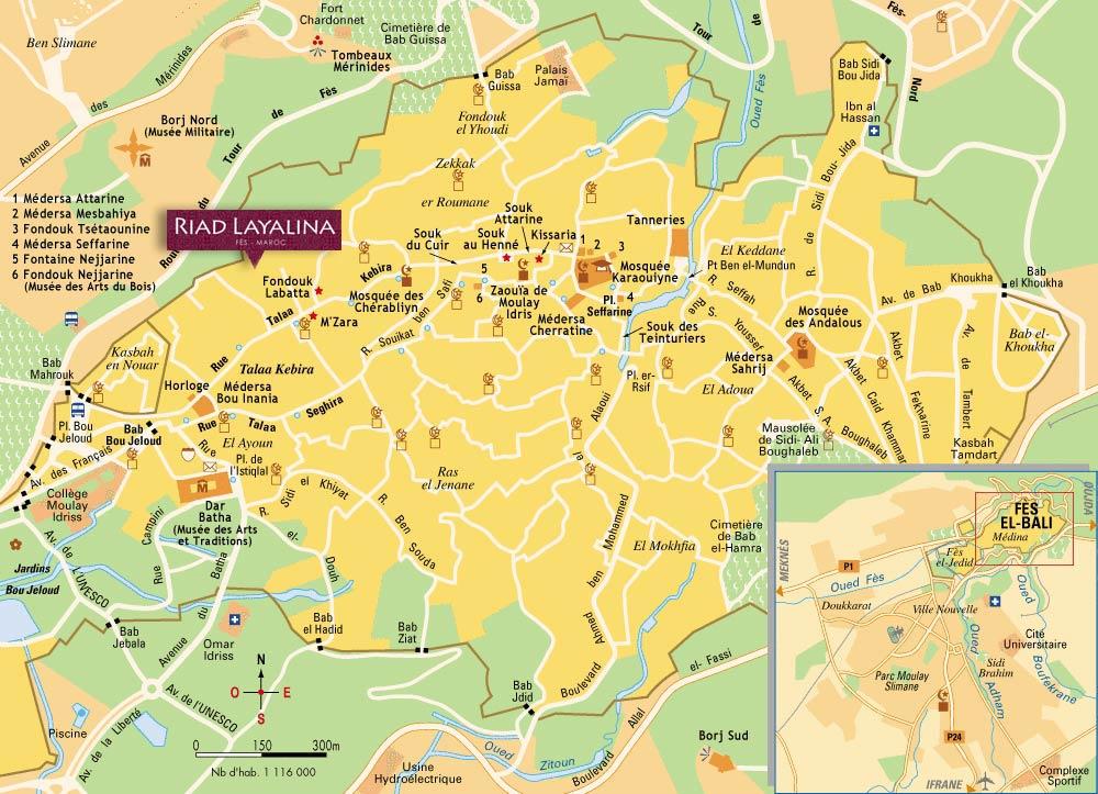 Fez Medina map riad Layalina in Fes Morocco